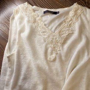 Dresses & Skirts - White embroidery dress with chiffon